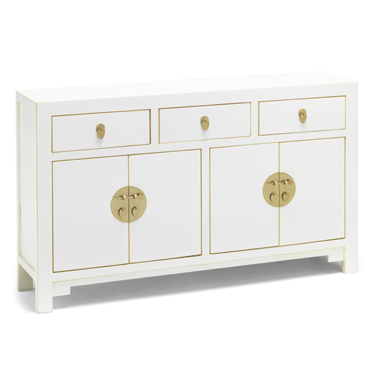 Avlion Large Wooden Sideboard In White With 4 Doors 3 Drawers