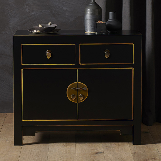 View Avlion small woden sideboard in black and gold