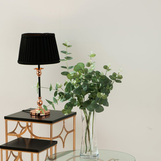 Avoca Black Fabric Shade Table Lamp With Copper Metal Base_2