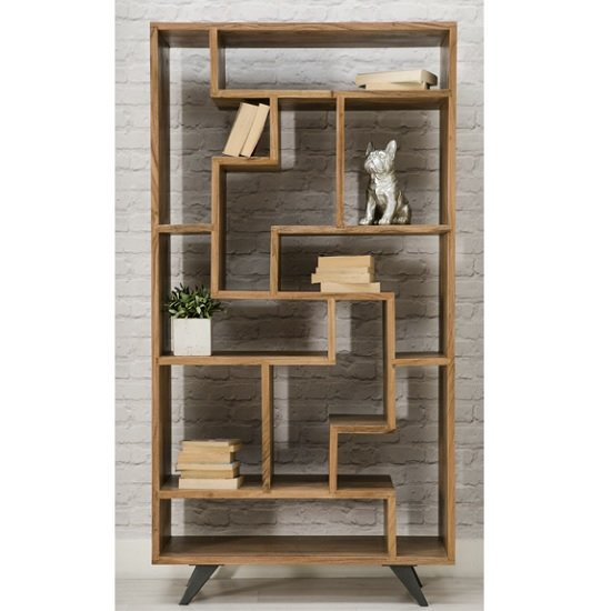 Avoca Wooden Bookcase In Acacia With Metal Legs