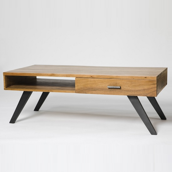 Avoca Wooden Coffee Table Rectangular In Acacia With Metal Legs