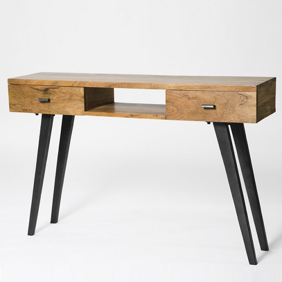 Avoca Wooden Console Table Rectangular In Acacia And Metal Legs