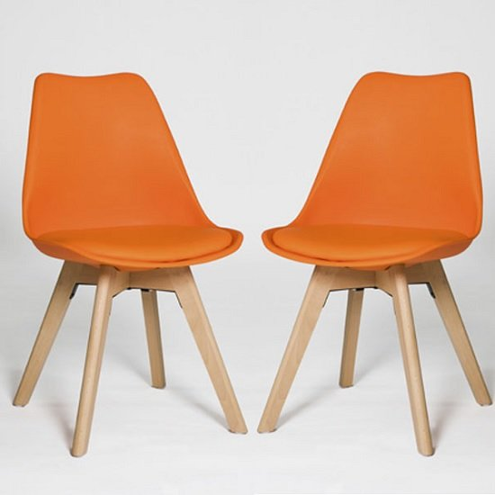 Regis Dining Chair In Orange With Wooden Legs In A Pair