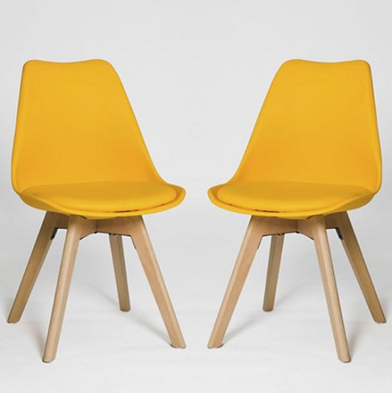 Regis Dining Chair In Yellow With Wooden Legs In A Pair