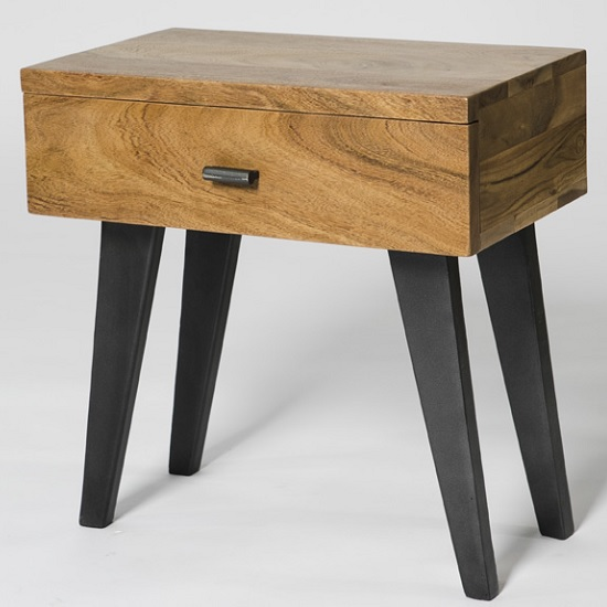 Avoca Wooden End Table In Acacia With Metal Legs And 1 Drawer