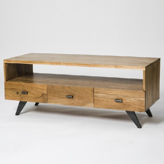 Avoca Wooden TV Stand In Acacia And Metal Legs With 3 Drawers