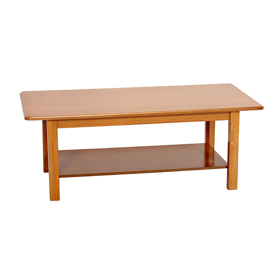 Avon Wooden Coffee Table In Golden Oak With Shelf