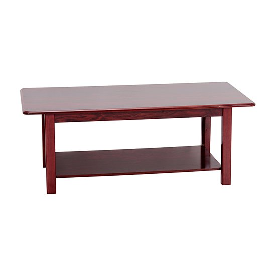 Avon Wooden Coffee Table In Mahogany With Shelf