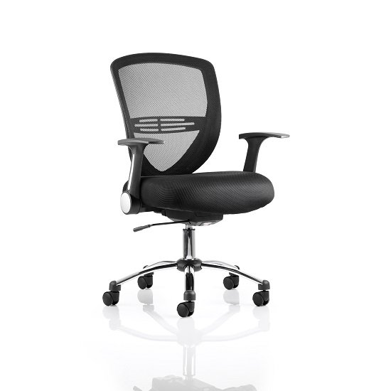 Avram Home Office Chair In Black With Castors