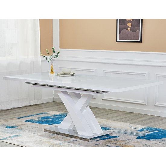 Axara Large Extending High Gloss Dining Table In White