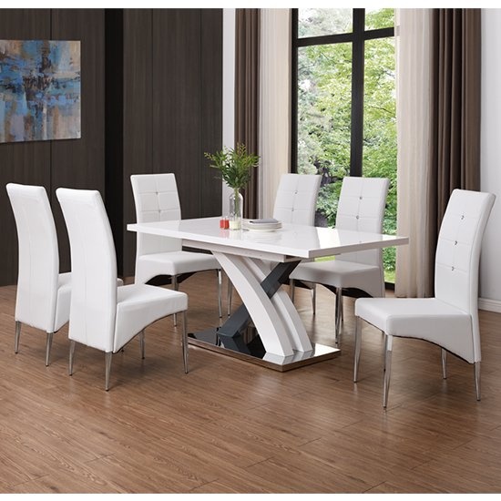 Axara Extending Gloss White Grey Dining Table With 8 White Chair_1