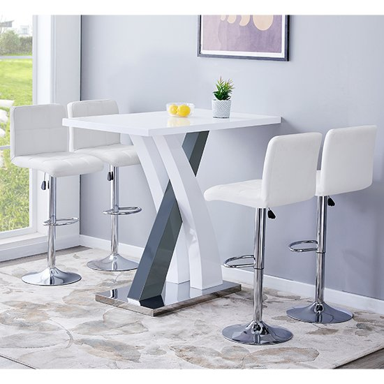 Axara Gloss Bar Table In White Grey With 4 Coco White Stools