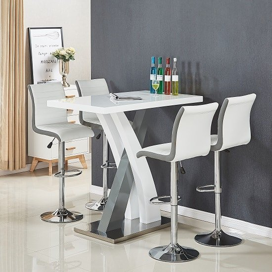 Axara Bar Table Rectangular In White And Grey High Gloss_2