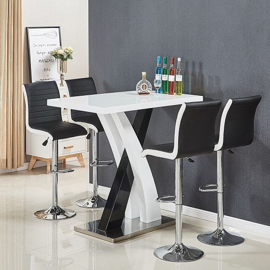 Axara Bar Table In White Black Gloss With 4 Ritz Black Stools