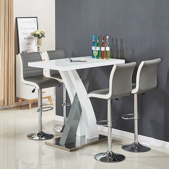 White Bar Table And Stools: Axara Bar Table In White And Grey Gloss With 4 Ritz Grey