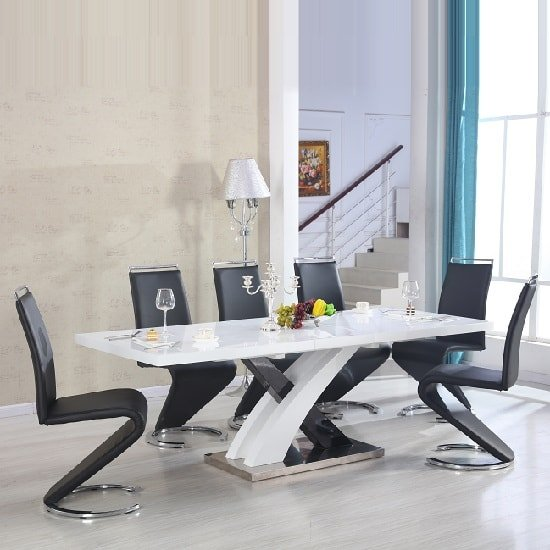 Axara Extendable Dining Table In White With 8 Summer Black Chair