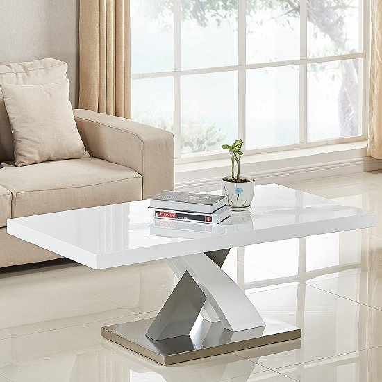 Axara Coffee Table Rectangular In White And Grey High Gloss_1