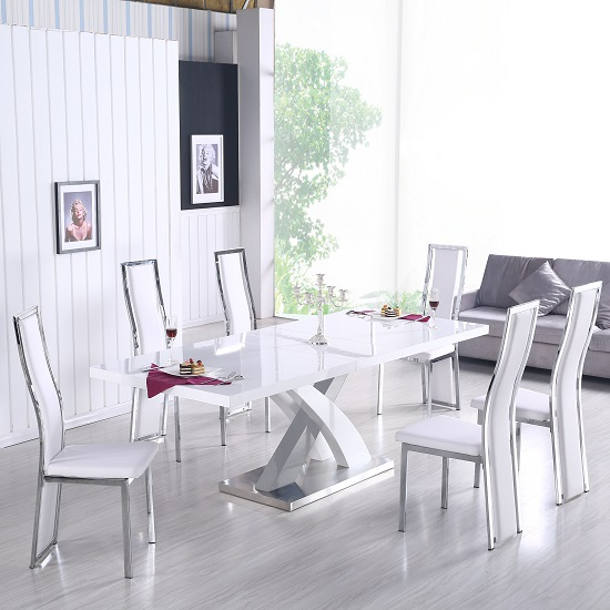 Axara Extendable Dining Set In White Gloss With 6 Collete Chairs