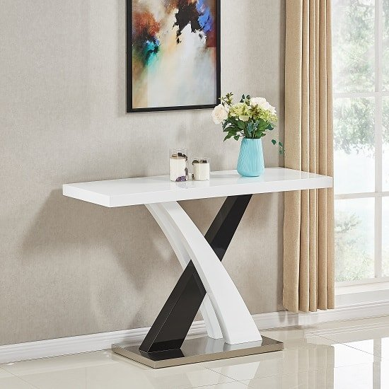 Axara Console Table Rectangular In White And Black High Gloss_1
