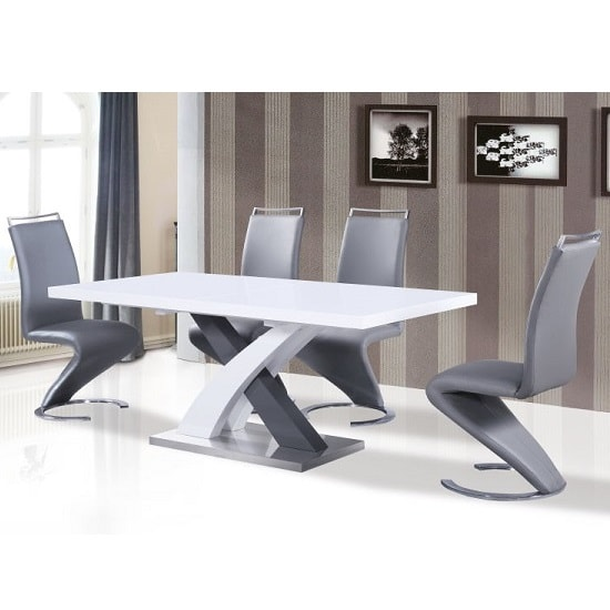 Axara Extendable Dining Table In White And Grey High Gloss_3