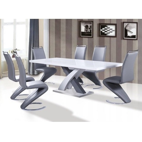 Axara Extendable Dining Table In White With 8 Summer Grey Chairs