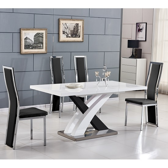 Axara Extending Small Dining Set White Black Gloss 6 Chairs_1