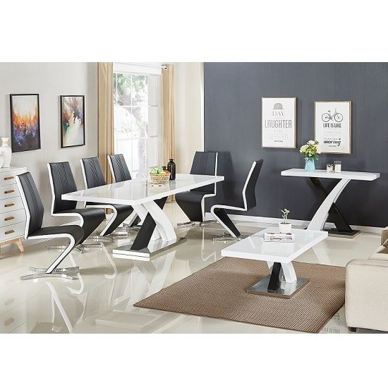 Axara Extendable Dining Table In White With 6 Summer Black Chair_3