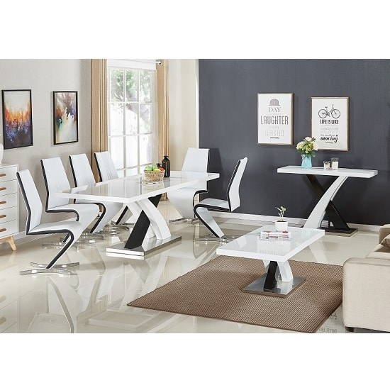 Axara Extendable Dining Table In White With 6 Summer Black Chair_2