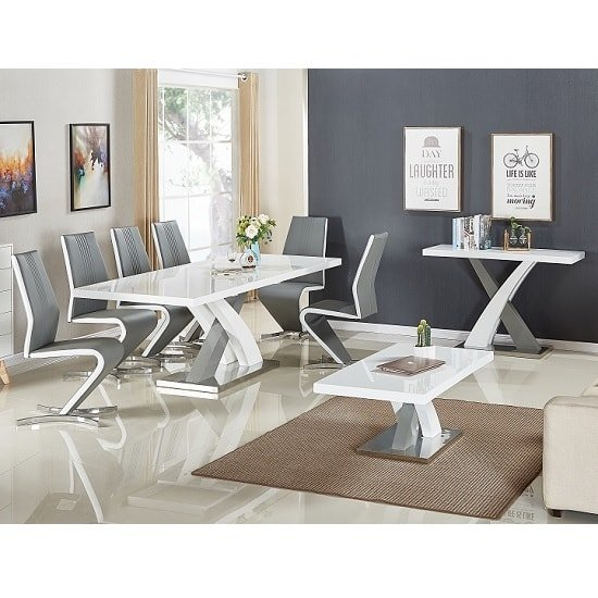 Axara Extendable Small Dining Table White Grey Gloss 4 Gia Chair_2