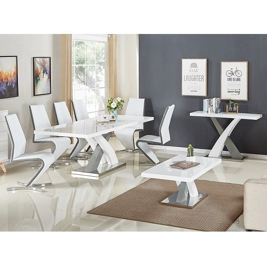 Axara Extendable Dining Table In White And Grey High Gloss_6