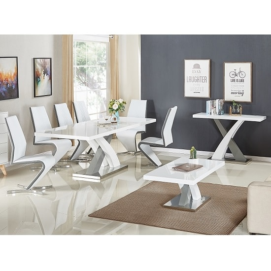 Axara Extendable Small Dining Table White Grey Gloss 4 Gia Chair_3