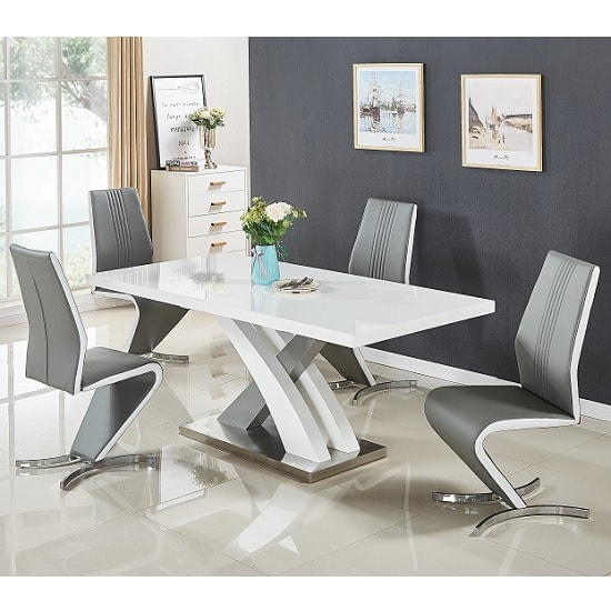 Axara Extendable Small Dining Table White Grey Gloss 4 Gia Chair_1