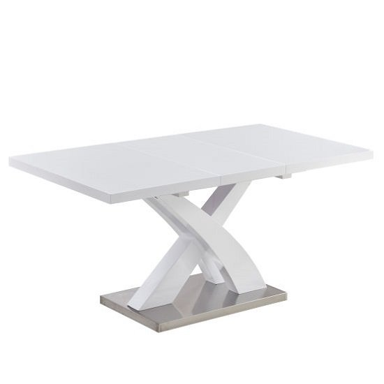 Axara Extendable Small Dining Table In All White High Gloss_1