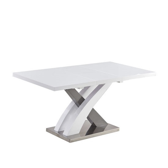 Axara Extendable Small Dining Table In White And Grey High Gloss