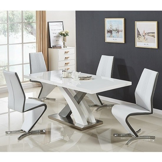 Axara Small Gloss Extendable Dining Table Set With 4 Gia Chairs 1
