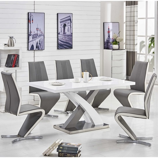 Axara Extendable Small Dining Table White Grey Gloss 4 Gia Chair
