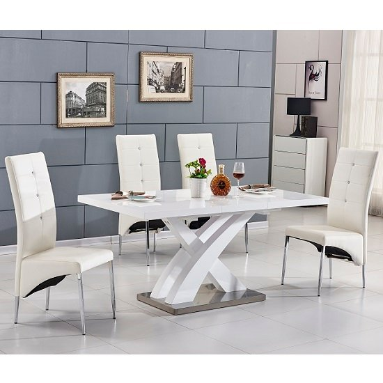 Axara Small Extending Gloss Table White With 4 White Chairs