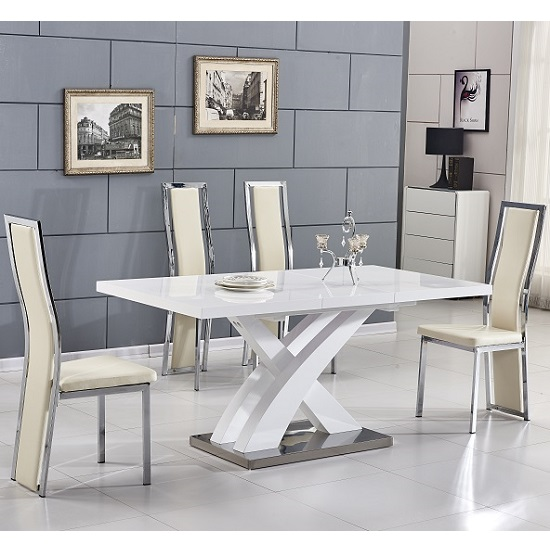 Axara Extending Small Dining Set In White Gloss 4 Cream Chairs