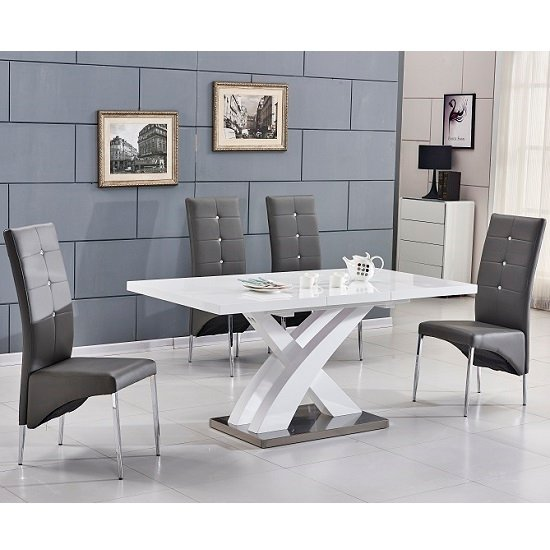 Axara Extending Small Dining Set In White Gloss 6 Grey Chairs