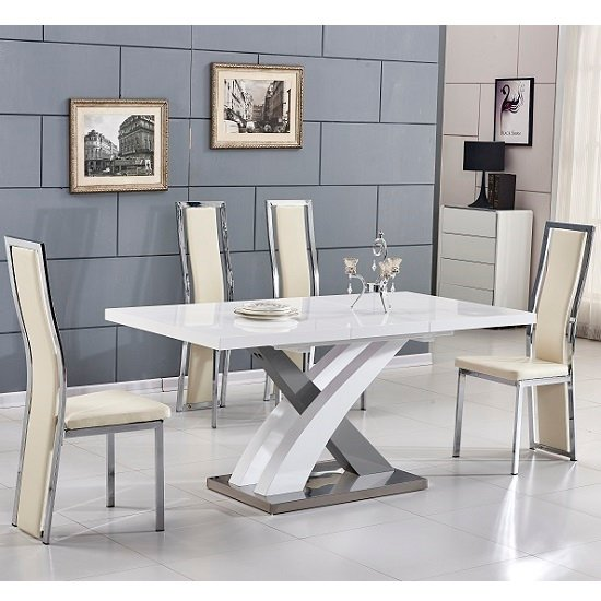Axara Extending Small Dining Set White Grey Gloss 4 Cream