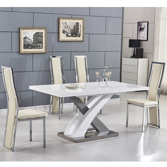 Axara Extending Small Dining Set White Grey Gloss 4 Cream Chairs