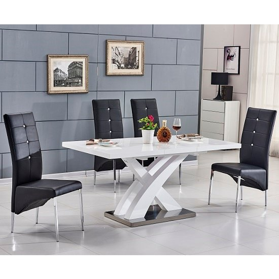 Axara Extending Small Dining Set White Gloss 4 Vesta Black Chair