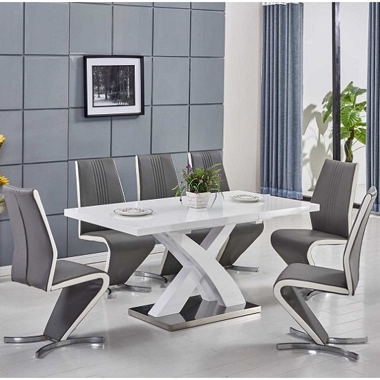 Axara Extendable Small Dining Table White Gloss And 4 Gia Chairs Part 66