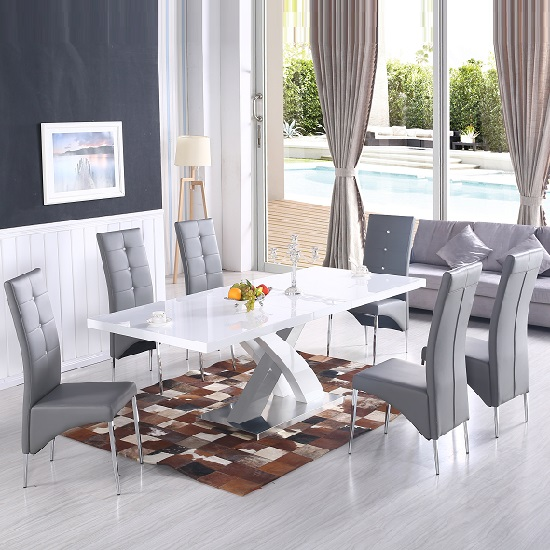 axara extendable dining table in white with 6 vesta grey. Black Bedroom Furniture Sets. Home Design Ideas