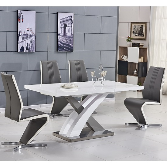 Axara Extending Small Dining Table White Grey Gloss 6 Gia Chairs