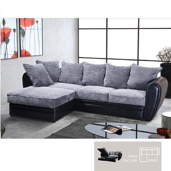 Axelia Sofa Bed In A Corner Fabric Style In Black