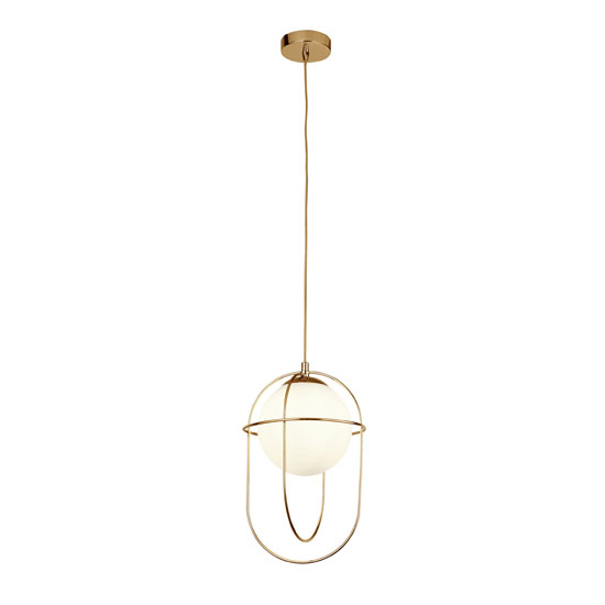 Axis 1 Pendant Light In Polished Brass With Opal Glass Ball