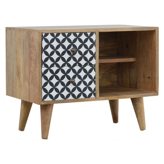 Axton Wooden District Diamond Pattern Storage Cabinet In Oak Ish