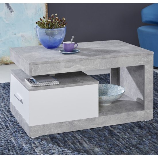 Ayano 1 Drawer Coffee Table In White And Stone Cement Grey