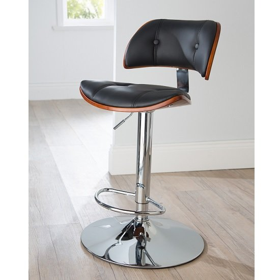 Aylesbury Bar Stool In Black PU And Walnut With Chrome Base_1